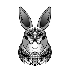 Ornamental black rabbit vector