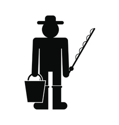 Fisherman with bucket and fishing rod icon vector