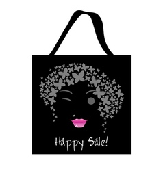 Shopping butterfly woman bag design vector