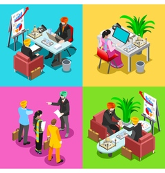 Business indian 02 isometric people vector