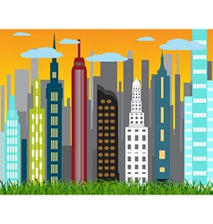 Landscape and city life vector