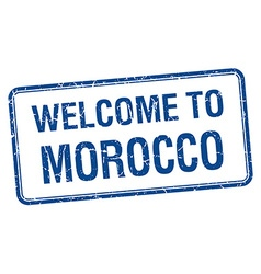 Welcome to morocco blue grunge square stamp vector
