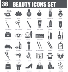 Beauty cosmetics black icons set Dark grey vector image vector image