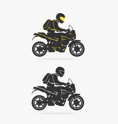 biker riding motorcycle vector image