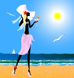 Blonde on the beach vector