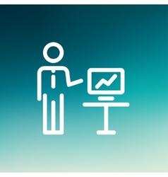 Businessman presentation thin line icon vector image