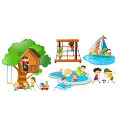 children having fun doing different activities vector image vector image