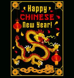 Chinese new year dragon greeting card vector