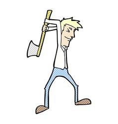 comic cartoon man swinging axe vector image