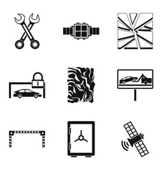 Damaged car icons set simple style vector