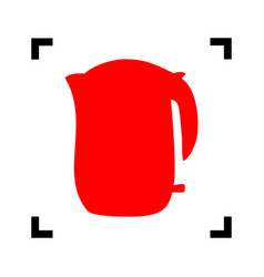 Electric kettle sign red icon inside vector