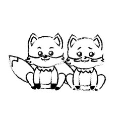 Figure cute couple fox wild animal with beautiful vector