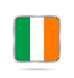 flag of Ireland shiny metallic gray square button vector image