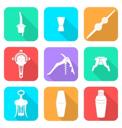 Flat style white icons barman instruments set vector