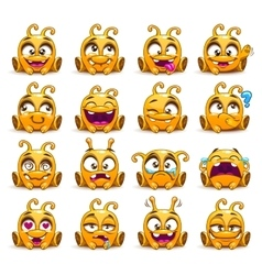 Funny yellow alien character emoticons set vector image