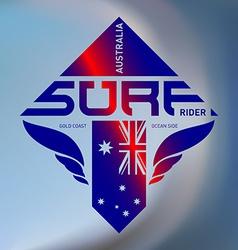 Gold coast Australia surf rider Extreme sport logo vector image