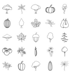 Greenery icons set outline style vector
