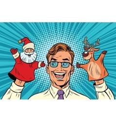 Happy dad a Christmas puppet theater vector image vector image