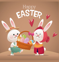 Happy easter card couple bunny basket egg vector