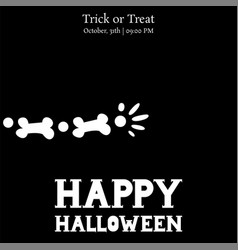 happy halloween skeleton arm card vector image vector image