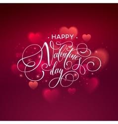 Happy valentines day handwritten text on blurred vector