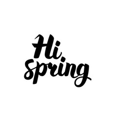 hi spring handwritten lettering vector image