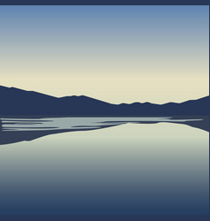 landscape with blue mountains near lake vector image