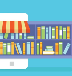 Mobile service - library of books for read vector