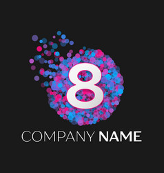 number eight logo with blue purple particles vector image