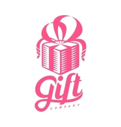 Pink and white graphic gift box logo templates vector