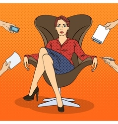 Pop Art Successful Business Woman vector image vector image