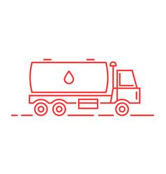 Red thin line milk tanker vector