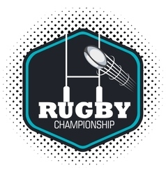 Rugby championship ball flying and post goal vector