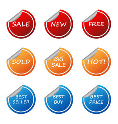 Sale promotion sticker label set vector