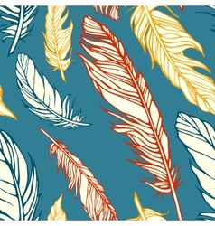 Seamless pattern with decorative feathers vector image vector image