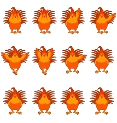 Set of golden rooster flat icons vector image vector image
