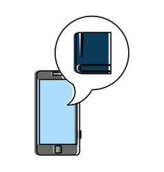 smartphone device with speech bubble and ebook vector image