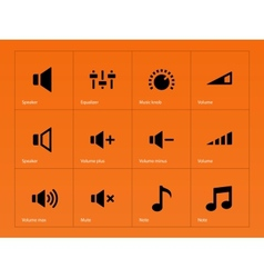 Speaker icons on orange background vector image