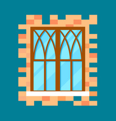 Vintage window in flat design vector