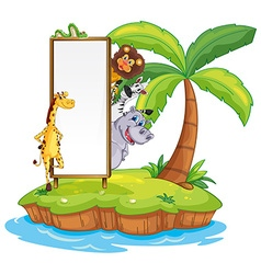 Wild animals and sign on island vector
