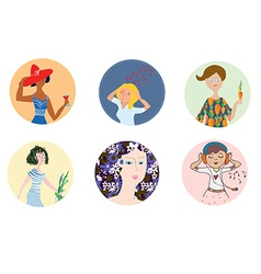 Women icons set with different mood and vector image vector image