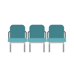 Blue airport seats icon flat style vector