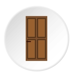 Brown entry door icon flat style vector
