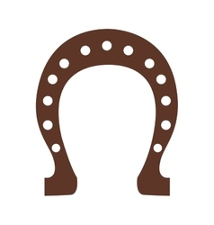 Silhouette color brown horseshoe closeup vector