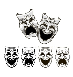 Tragedy and comedy theater masks vector