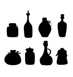 Doddle black silhouette jars and bottles vector