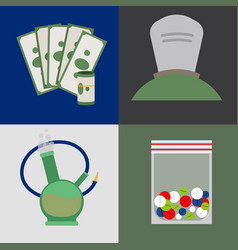Money tablets and drugs icons vector