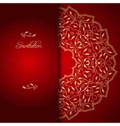 Red lace background with floral ornament vector