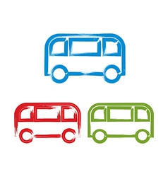 Set of hand-drawn colorful bus icons brush drawing vector