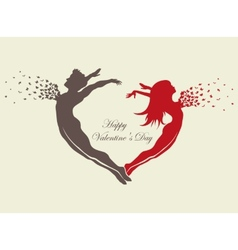 couple in love with butterflies vector image
